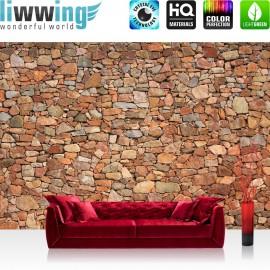 PREMIUM Fototapete - no. 156 | Steinwand Steinoptik Steine Wand Mauer Steintapete beige