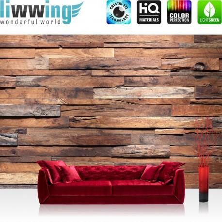 PREMIUM Fototapete - no. 174 | Holzwand Steinoptik Holz Wand Mauer Holztapete