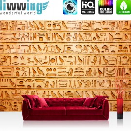 "Vlies Fototapete ""no. 180"" | Ägypten Tapete Hyroglyphen Alt Abstrakt Ornamente Symbole gelb"