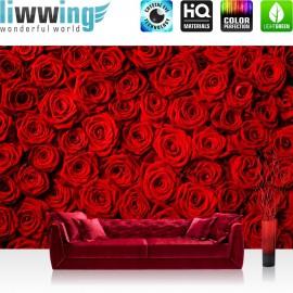 "Vlies Fototapete ""no. 190"" | Blumen Tapete Rose Blüten Natur Liebe Love Rot rosa"