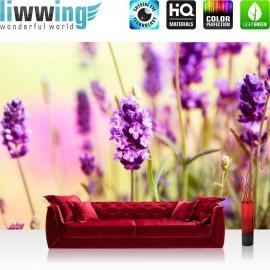 "Vlies Fototapete ""no. 197"" | Blumen Tapete Blüten Natur Lila Wiese braun"