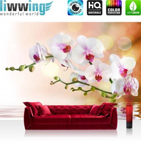 """Vlies Fototapete """"no. 200""""   Berge Tapete Orchidee Blumen Blumenranke Weiß Pink Natur Pflanzen Abstrakt grau"""