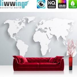 "Vlies Fototapete ""no. 215"" | Welt Tapete Weltkarte Atlas Kontinente 3D Optik grau"