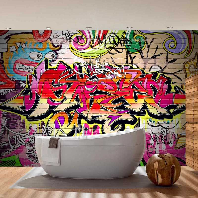 kinderzimmer tapete graffiti bibkunstschuur. Black Bedroom Furniture Sets. Home Design Ideas