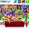"Vlies Fototapete ""no. 221"" | Graffiti Tapete Kinderzimmer Graffiti Streetart Sprayer 3D bunt schwarz - weiß"