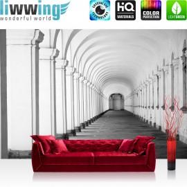 PREMIUM Fototapete - no. 224 | Arkaden 3D Perspektive Gewölbe Säulen Steinwand