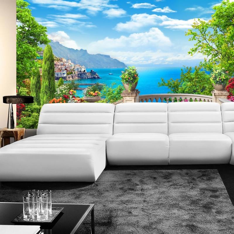 vlies fototapete no 227 meer tapete ausblick terrasse. Black Bedroom Furniture Sets. Home Design Ideas
