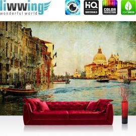 "Vlies Fototapete ""no. 228"" | Venedig Tapete Kanal Italien Stadt Wasser beige"