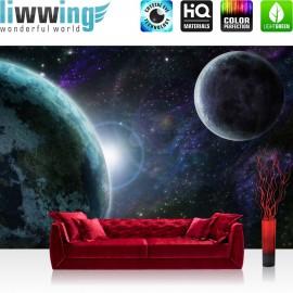 "Vlies Fototapete ""no. 229"" | Welt Tapete Weltraum Erde Mond Weltall grau"