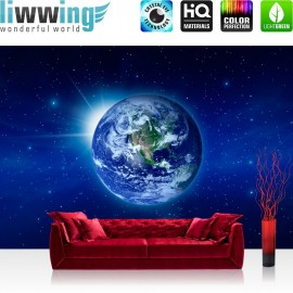 "Vlies Fototapete ""no. 231"" | Welt Tapete Erde Weltraum Planet Blau rosa"