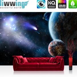 "Vlies Fototapete ""no. 232"" | Welt Tapete Erde Weltraum Planet Meteoriten blau"