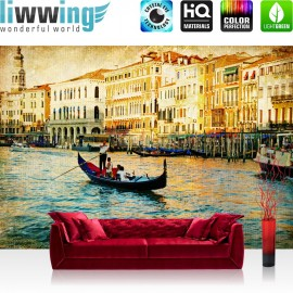 "Vlies Fototapete ""no. 240"" | Venedig Tapete Kanal Italien Boot Wasser grau"