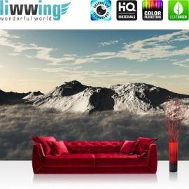 "Vlies Fototapete ""no. 244"" | Gebirge Tapete Himmel Wolken Sonne anthrazit"