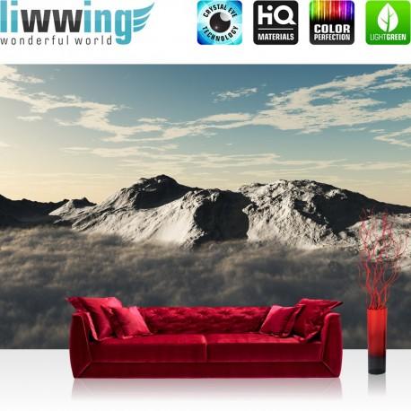 "Vlies Fototapete ""no. 244""   Gebirge Tapete Himmel Wolken Sonne anthrazit"