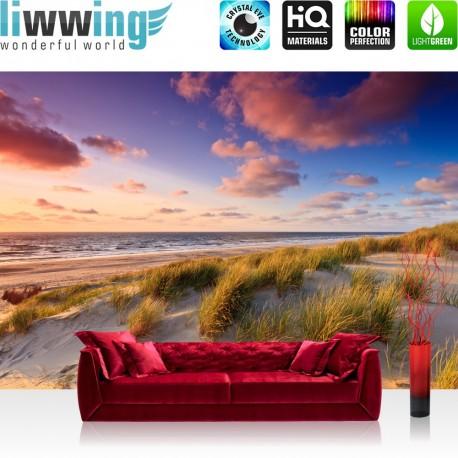 "Vlies Fototapete ""no. 245"" | Strand Tapete Düne Sonnenuntergang Beach Sand bunt"