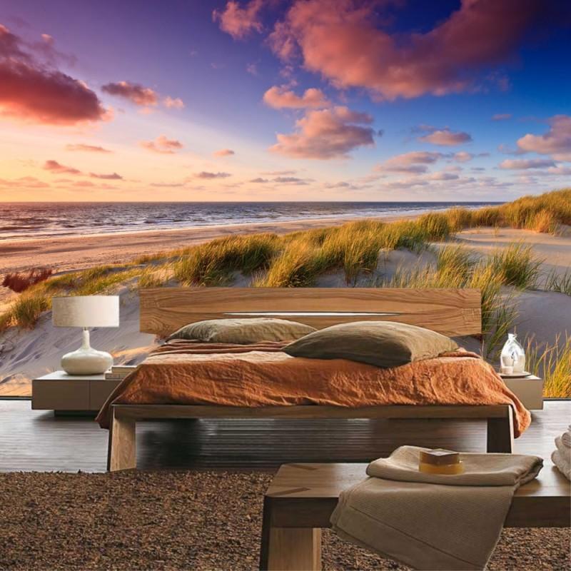 Fototapete sonnenuntergang strand  Vlies Fototapete no. 245 | Strand Tapete Strand Düne Sonnenuntergang ...