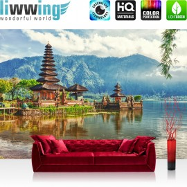 "Vlies Fototapete ""no. 248"" | Bali Tapete Tempel Wasser Natur grau"