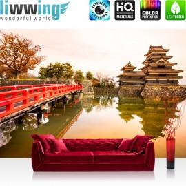 "Vlies Fototapete ""no. 263"" | Japan Tapete Brücke Wasser Ruhe Romantisch lila"