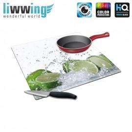 Herdabdeck- / Schneideplatte no. 4239 | Kulinarisches Limette, Tropfen, Spritzer grün | liwwing (R)