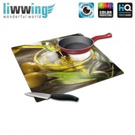 Herdabdeck- / Schneideplatte no. 4243 | Kulinarisches Olive, Olivenöl, Olivenzweig, Blatt natural | liwwing (R)