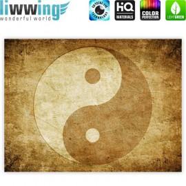 "liwwing (R) Marken Leinwandbild ""no. 213"" | Panorama | Abstrakt Yin Yang Beige Ruhe"