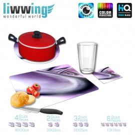 Küchenset komplett Purple Clima | Kunst 3D Digital Art Abstrakt Schwung blau rot lila | liwwing (R)