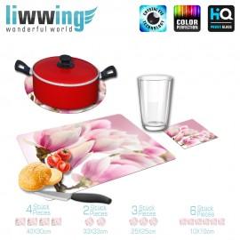 Küchenset komplett Pink Magnolia | Blumen Magnolie Blumenranke Pflanzen Natur Orchidee Blume rosa pink | liwwing (R)