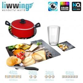 Küchenset komplett no. 3722 | Kulinarisches Käse, Wein, Holzbrett, Hobel, Messer natural | liwwing (R)