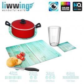 Küchenset komplett no. 3724 | Texturen Bretter, Wand, Zaun, Vintage türkis | liwwing (R)