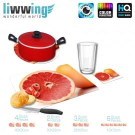 Küchenset komplett no. 3726 | Kulinarisches Grapefruit, Obst gelb | liwwing (R)