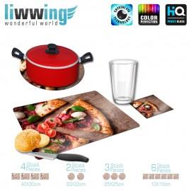 Küchenset komplett no. 3698 | Kulinarisches Pizza, Champions, Salami, Schinken, Holzbrett natural | liwwing (R)