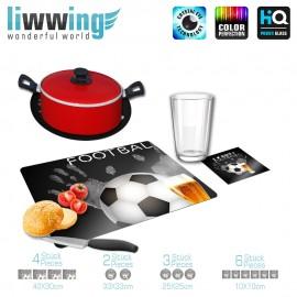 Küchenset komplett no. 3702 | Sport Fußball, Soccer, Football, Bier, Beer, Love schwarz - weiß | liwwing (R)