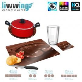Küchenset komplett no. 3704 | Kulinarisches Kakao, Schokolade, Kaffee, Tropfen, Spritzer braun | liwwing (R)