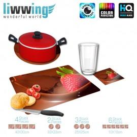 Küchenset komplett no. 3706 | Kulinarisches Erdbeere, Schokolade, Schokobrunnen braun | liwwing (R)
