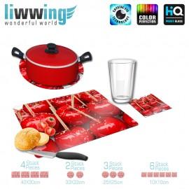 Küchenset komplett no. 3707 | Kulinarisches Äpfel, Apfel, kandiert, Stiel rot | liwwing (R)