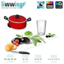 Küchenset komplett no. 3708 | Kulinarisches Olive, Olivenzweig, Schwarze Olive natural | liwwing (R)