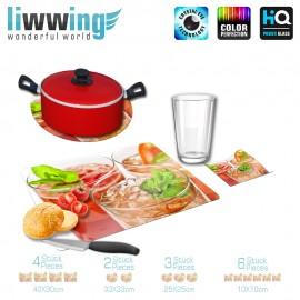 Küchenset komplett no. 3709 | Kulinarisches Cocktails, Eistee, Minze, Gläser natural | liwwing (R)