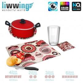 Küchenset komplett no. 3711 | Texturen Schokolade, Chocolate, Premium braun | liwwing (R)