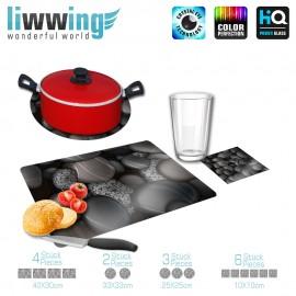 Küchenset komplett no. 3712 | Texturen Kieselsteine, Pebbles, Schwarzer Kiesel grau | liwwing (R)