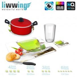 Küchenset komplett no. 3713 | Kulinarisches Tee, Blätter, Tasse, Glas, Grüner Tee grün | liwwing (R)