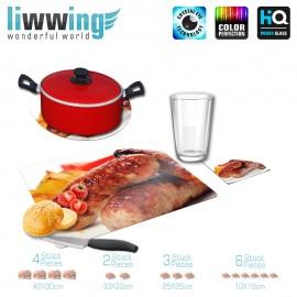 Küchenset komplett no. 3714 | Kulinarisches Bratwurst, Bratkartoffeln, Paprika natural | liwwing (R)