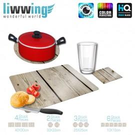 Küchenset komplett no. 3720 | Texturen Bretter, Wand, Zaun, Vintage beige | liwwing (R)