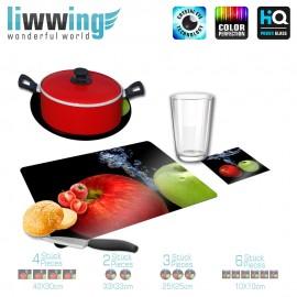 Küchenset komplett no. 3942 | Kulinarisches Apfel, Spritzer, Tropfen natural | liwwing (R)