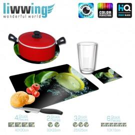 Küchenset komplett no. 3944 | Kulinarisches Zitrone, Limette, Scheibe, Spritzer, Tropfen natural | liwwing (R)