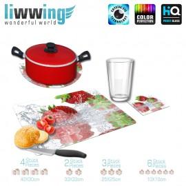 Küchenset komplett no. 3945 | Kulinarisches Erdbeeren, Spritzer, Tropfen natural | liwwing (R)