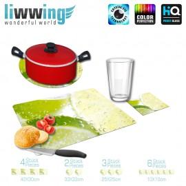 Küchenset komplett no. 3946 | Kulinarisches Limette, Scheibe, Tropfen natural | liwwing (R)