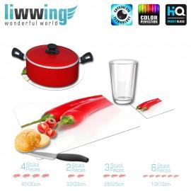 Küchenset komplett no. 3948 | Kulinarisches Chili, Schoten, Paprika rot | liwwing (R)