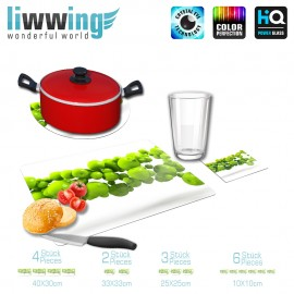 Küchenset komplett no. 3950 | Kulinarisches Apfel, Granny Smith, Kette, schwebend grün | liwwing (R)