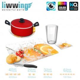 Küchenset komplett no. 3951 | Kulinarisches Orange, Anschnitt, Spritzer, Tropfen natural | liwwing (R)