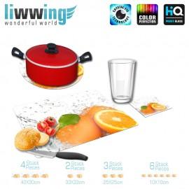Küchenset komplett no. 3952 | Kulinarisches Orange, Anschnitt, Spritzer, Tropfen natural | liwwing (R)